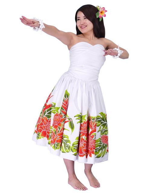 3322783b9b64 Hula Midi Dress with Torch Ginger Print / White / G1958w-hulaohana