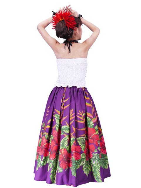 Hula Long Pa U Skirt With Hibiscus Print Purple G2405