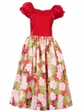 Hula Puff Sleeve Dress with Satin & Rose Print / Red / J1626r