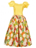 Hula Puff Sleeve Dress with Satin & Rose Print / Yellow / J1626y