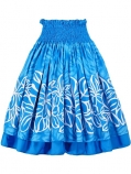 Hula Double & Reversible Pau Skirt with Plumeria Print / Blue / G1656