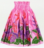 Hula Pa'u Skirt with Tropical Heliconia/ Pink / G1689