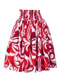 Hula Pa'u Skirt with Hibiscus Print / White & Red /G2227