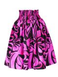 Hula Pa'u Skirt with Hibiscus Print / Black & Pink /G2233