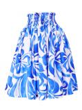 Hula Pa'u Skirt with Hibiscus Print / White & Blue /G2235