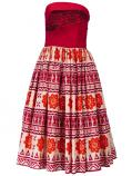 Hula Strapless Dress with Kahiko Print  / Red  / G2260r