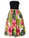 Hula Tube Top Dress with Hibiscus print / Red  / G2261r