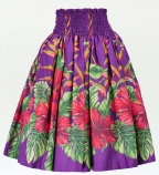 Hula Pa'u Skirt with Hibiscus Print / Purple / G2391