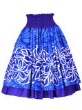 Hula Double & Reversible Pau Skirt with Plumeria Print / Egg Plant / G2401