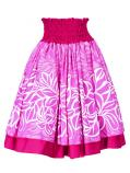 Hula Double & Reversible Pau Skirt with Plumeria Print / Deep Rose / G2402