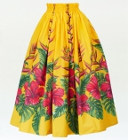 Hula Long Pa'u Skirt with Hibiscus Print / Yellow / G2404
