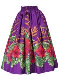 Hula Long Pa'u Skirt with Hibiscus Print / Purple / G2405