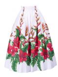 Hula Long Pa'u Skirt with Hibiscus Print / White / G2406