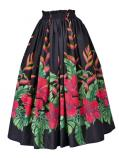 Hula Long Pa'u Skirt with Hibiscus Print / Black / G2407
