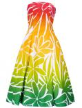 Hula Strapless Dress with Tiare / Red & Green  / G2428rdgr