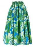 Hula Long Pa'u Skirt / Monstera & Lehua / Green / G2512