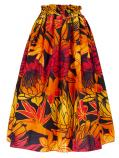 Hula Long Pa'u Skirt / Torch Ginger & Bird of Paradise / Orange / G2514