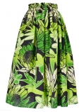 Hula Long Pa'u Skirt / Torch Ginger & Bird of Paradise / Green / G2516