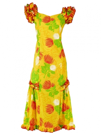 Hula Long Dress with Lehua Print / Yellow / G1147y