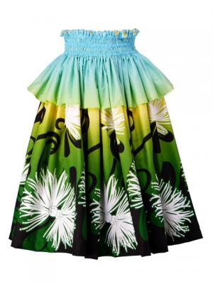 Hula Frilled Pa'u Skirt with Lehua Print / Gradation / Blue, Yellow, Green / G1415