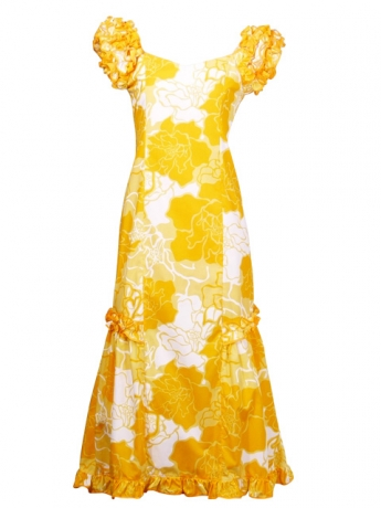Hula Long Dress with Rose Print / Yellow / G1479y