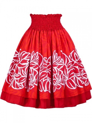 Hula Double & Reversible Pau Skirt with Plumeria Print / Red / G1657