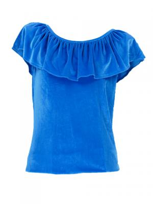 Hula Frilled Collar Blouse with Velvet / Blue / G1904bla