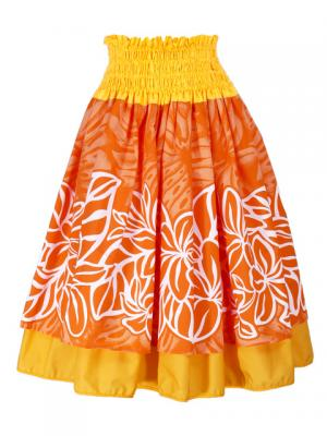Hula Double & Reversible Pau Skirt with Plumeria Print / Yellow / G1924