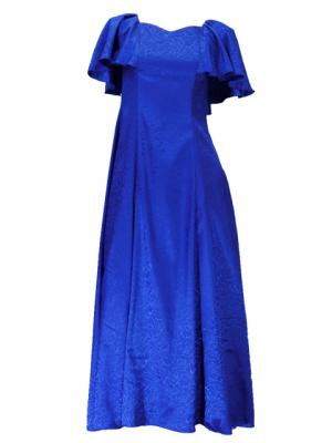 Hula Frill Sleeve Long Dress / Dark Blue / J2023db