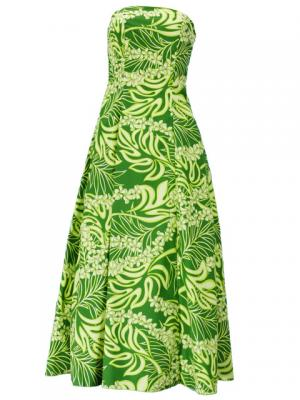 Hula Strapless Dress with Plumeria Print / Green  / G2045g