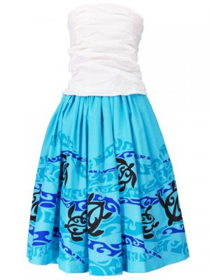 Hula Draping Tube Top & Pa'u Skirt with a cord Set-Up / Blue / G2082bl