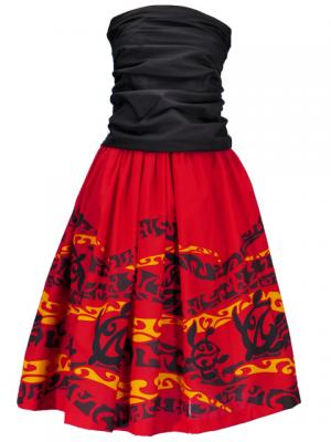 Hula Draping Tube Top & Pa'u Skirt with a cord Set-Up / Red / G2082r