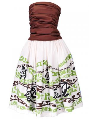 Hula Draping Tube Top & Pa'u Skirt with a cord Set-Up / White / G2082w