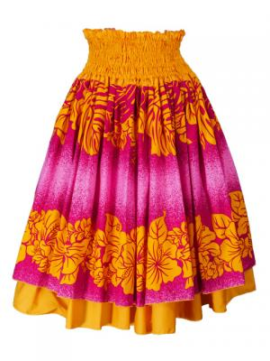 Hula Double & Reversible Pau Skirt with Hibiscus  Print / Yellow / G2192