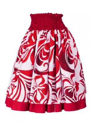Hula Double & Reversible Pau Skirt with Hibiscus  Print / Red / G2222