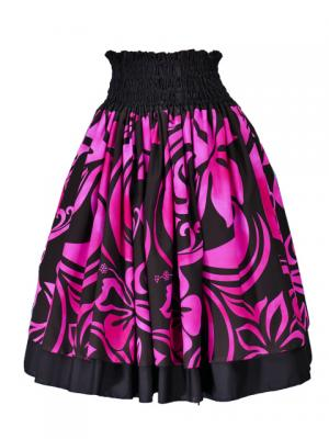 Hula Double & Reversible Pau Skirt with Hibiscus  Print / Black / G2225