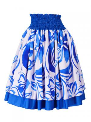 Hula Double & Reversible Pau Skirt with Hibiscus  Print / Royal Blue / G2226