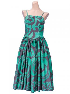 Hula Midi Dress with Hibiscus Print / Gray & Green / G2258ggr