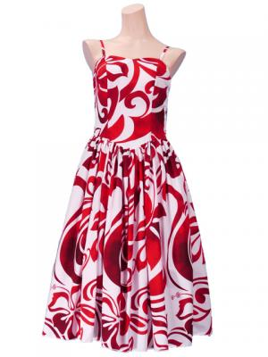 Hula Midi Dress with Hibiscus Print / White & Red / G2258wr