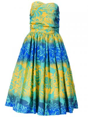 Hula Midi Dress with Monstera Print / Blue / G2259ybl