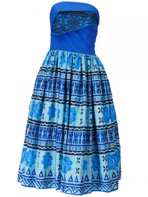 Hula Strapless Dress with Kahiko Print  / Blue  / G2260bl