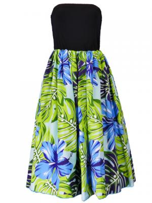 Hula Tube Top Dress with Hibiscus print / Blue  / G2261bl