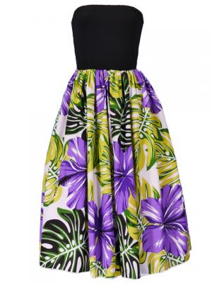 Hula Tube Top Dress with Hibiscus print / Purple  / G2261p