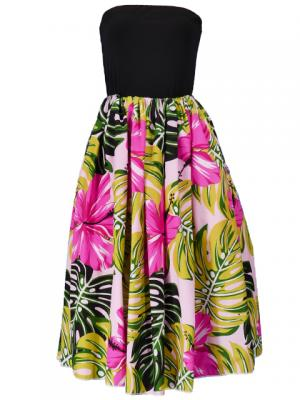Hula Tube Top Dress with Hibiscus print / Pink  / G2261pi