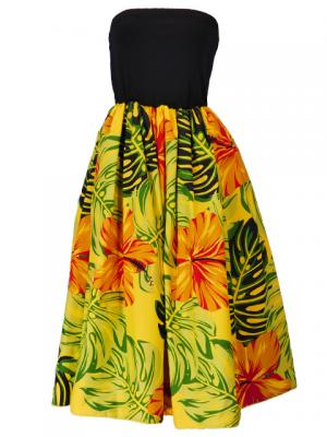 Hula Tube Top Dress with Hibiscus print / Yellow  / G2261y