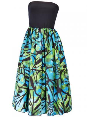 Hula Tube Top Dress with Hibiscus print / Black & Green  / G2336bg