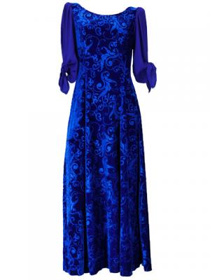 Hula Floral Embosed Velvet Dress with Ciffon sleeves  / Blue / G2337bl