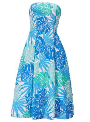 Hula Strapless Dress with Monstera / Blue  / G2345bl