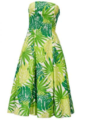 Hula Strapless Dress with Monstera / Green  / G2345g