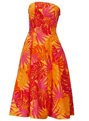Hula Strapless Dress with Monstera / Orange  / G2345o